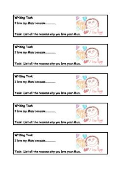 A series of higher order thinking writing tasks for Mothers Day. Encouraging creative writing with no limitations.