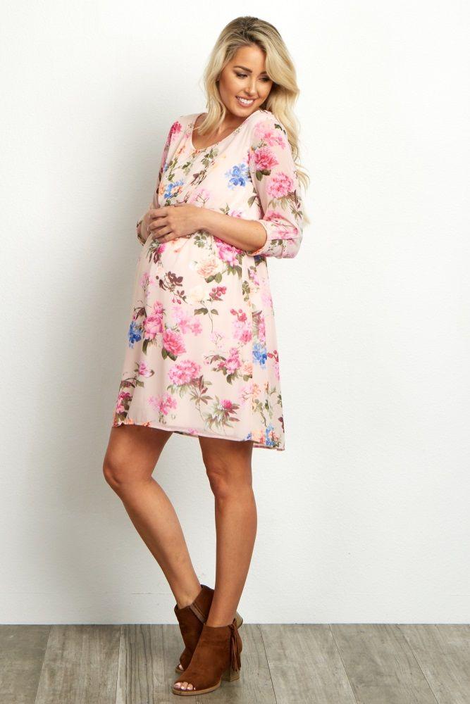 ea266ba03a5 Light Pink Floral Chiffon 3 4 Sleeve Maternity Dress