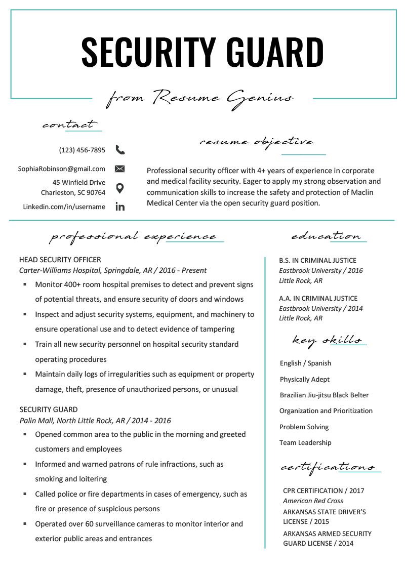security guard resume sample  u0026 writing tips
