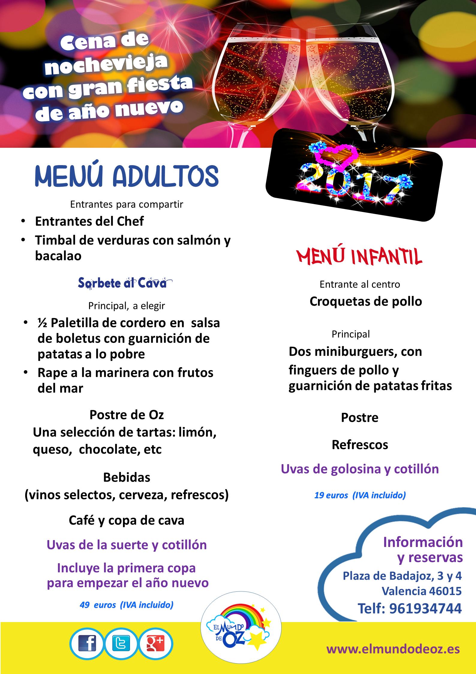 Ya está preparado el menú de la nochevieja en el parque infantil El Mundo de OZ. Incluye una estupenda fiesta familiar para despedir al año 2016 y acoger al nuevo 2017.
