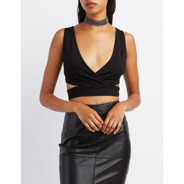 Charlotte Russe Cut-Out Surplice Crop Top ($12) ❤ liked on Polyvore featuring tops, black, cut-out crop tops, cross front crop top, sleeveless tops, charlotte russe and cross front top