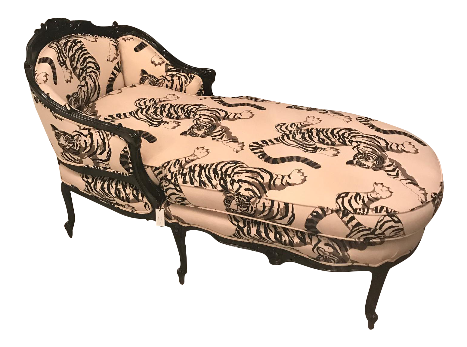 French Louis XV Style Chinoiserie Chaise on Chairish.com