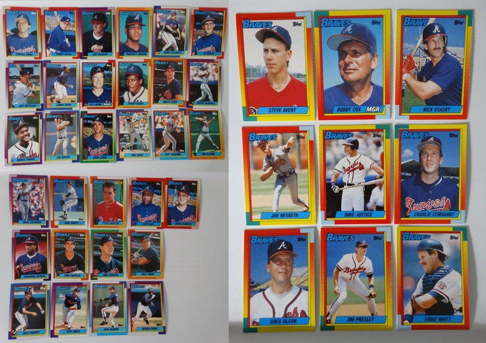 1990 topps atlanta braves team set of 40 baseball cards