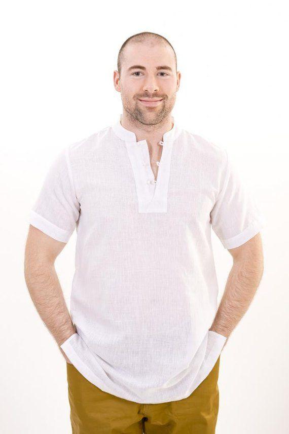 c5474cee3cfe Mens Linen Nehru Collar Short Sleeves Kurta Shirt With Button Loops ...