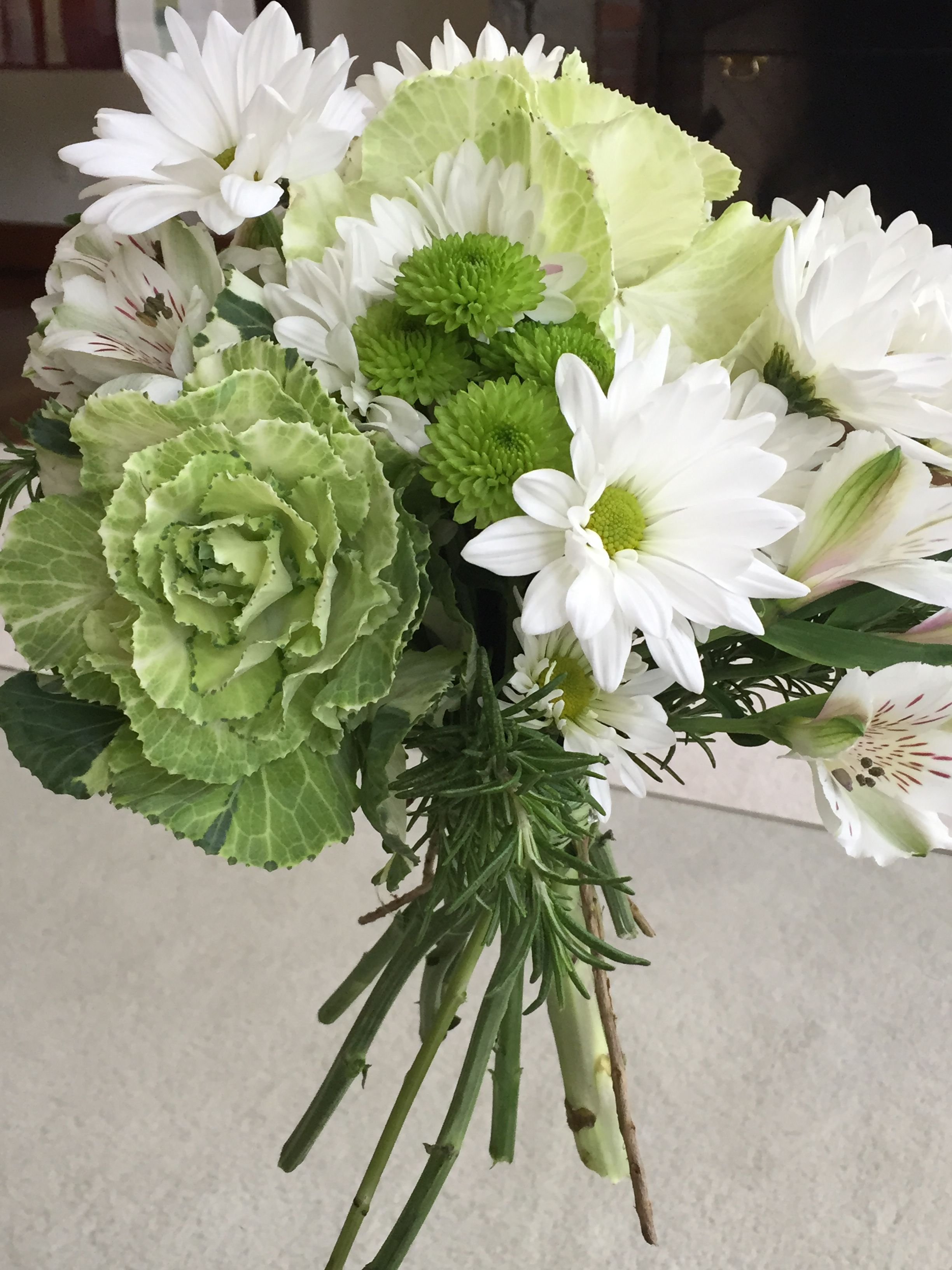 Simply Elegant Wedding Bouquet Fresh Greens And White Kale