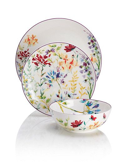 Marks u0026 Spencer Spring Meadow 12 Piece Dining Set £95 (Includes 4 dinner plates 4 side plates and 4 cereal bowls dishwasher and microwave safe)  sc 1 st  Pinterest & Marks u0026 Spencer Spring Meadow 12 Piece Dining Set £95 (Includes 4 ...