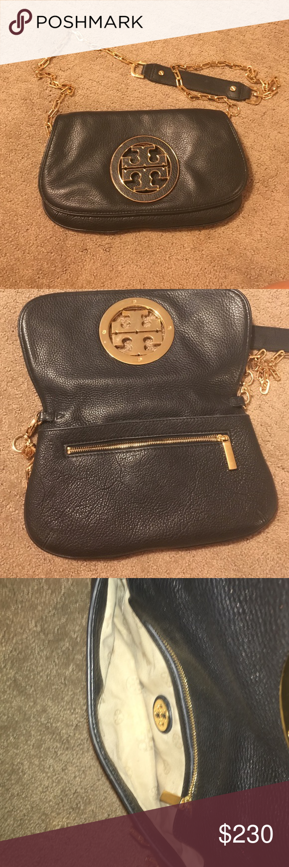 Tory Burch Crossbody bag Black sigh gold symbol ing. Great condition on the outside and a little wear on the inside. Tory Burch Bags Crossbody Bags