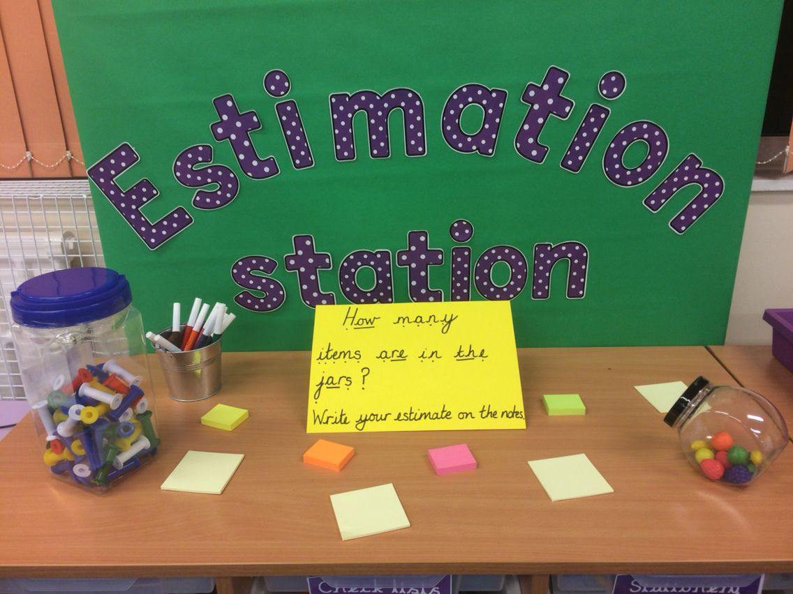Estimation station providing weekly opportunities for children to