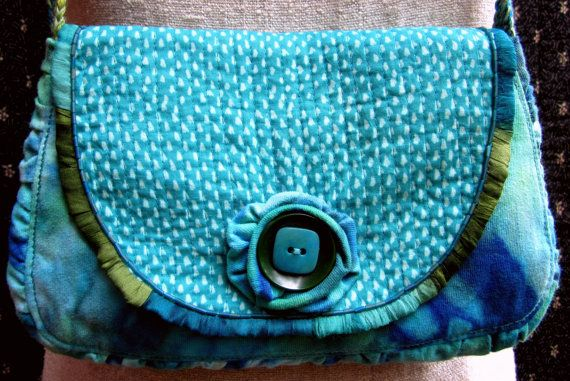 Up-cycled Tye-Dyed Purse with Silk Edging by GreenLeavesBoutique