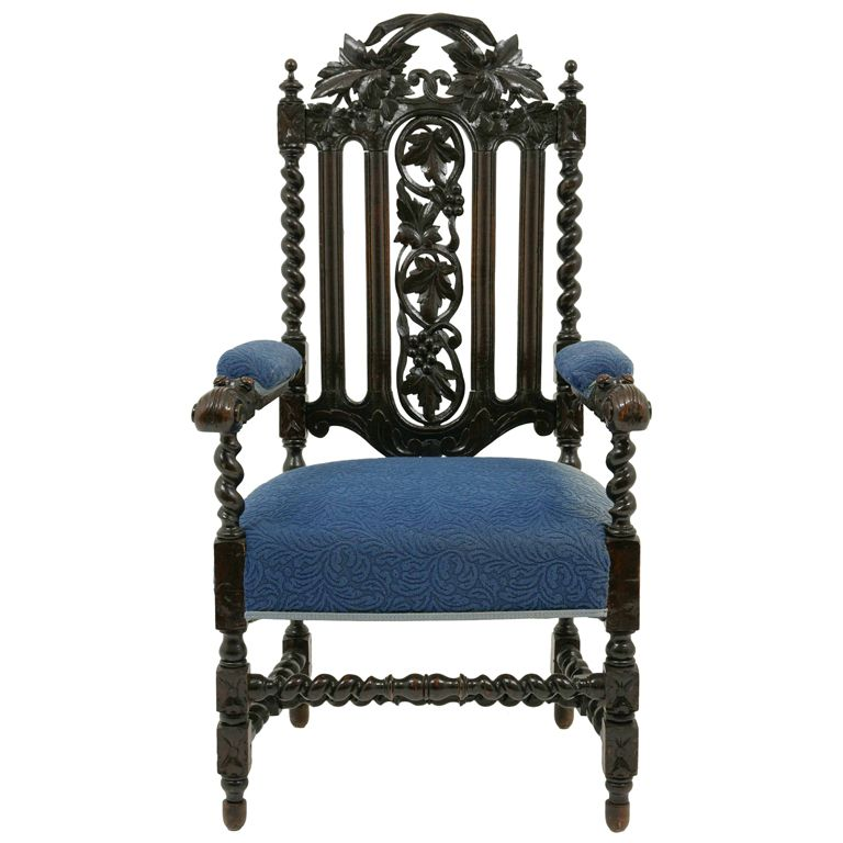 Jacobean Carved Oak Throne Chair | From A Unique Collection Of Antique And  Modern Armchairs At Https://www.1stdibs.com/furniture/seating/armchairs/  This ...