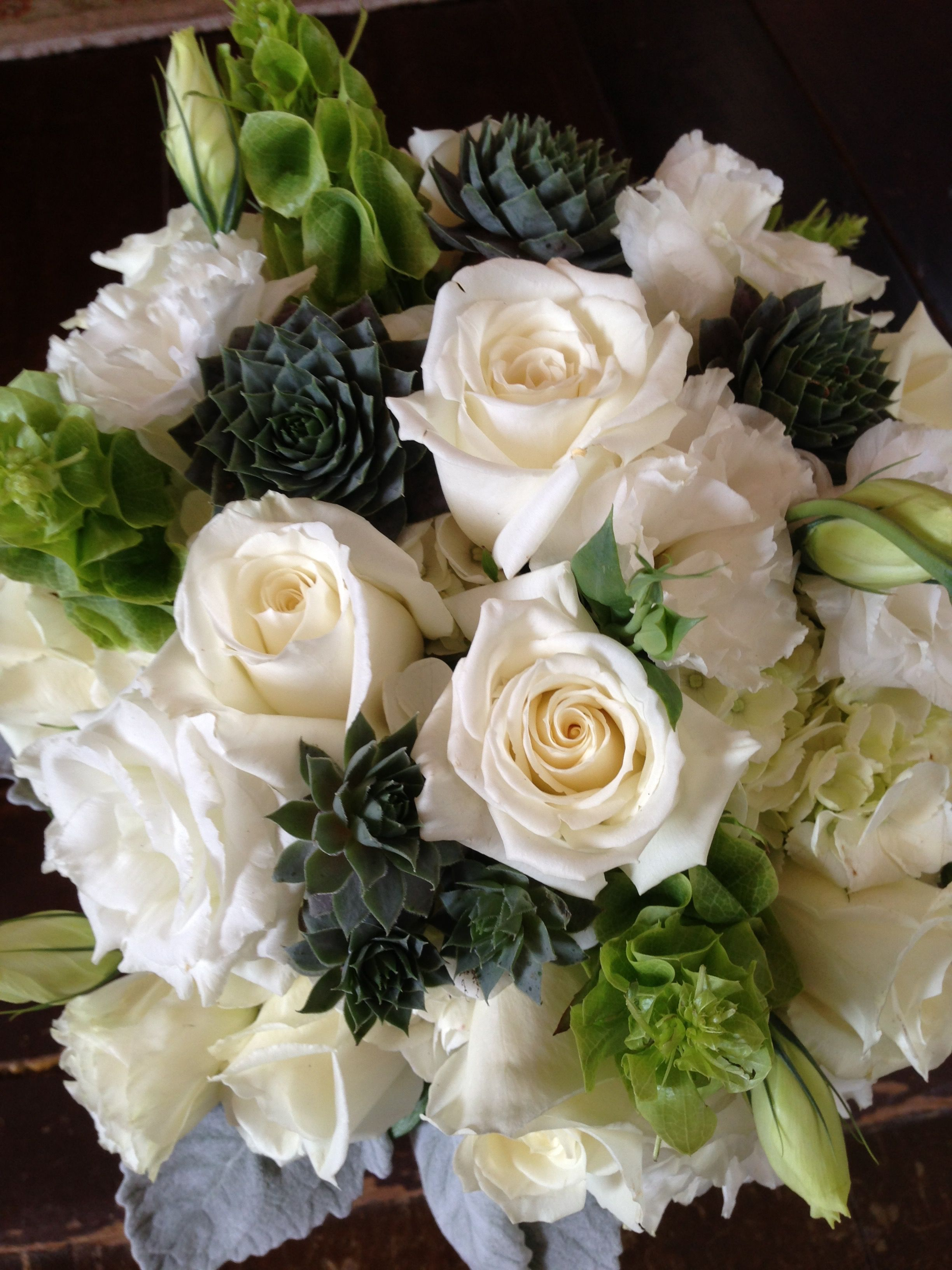 Cream Roses Dusty Miller Succulents And Bells Of Ireland Cream Roses Flower Delivery Service Florist