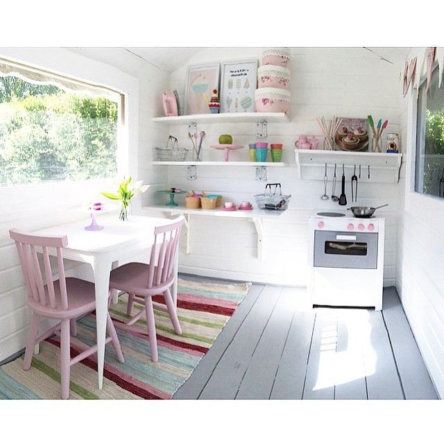 Playhouse play kitchen pinterest playhouses cubby for Playhouse ideas inside