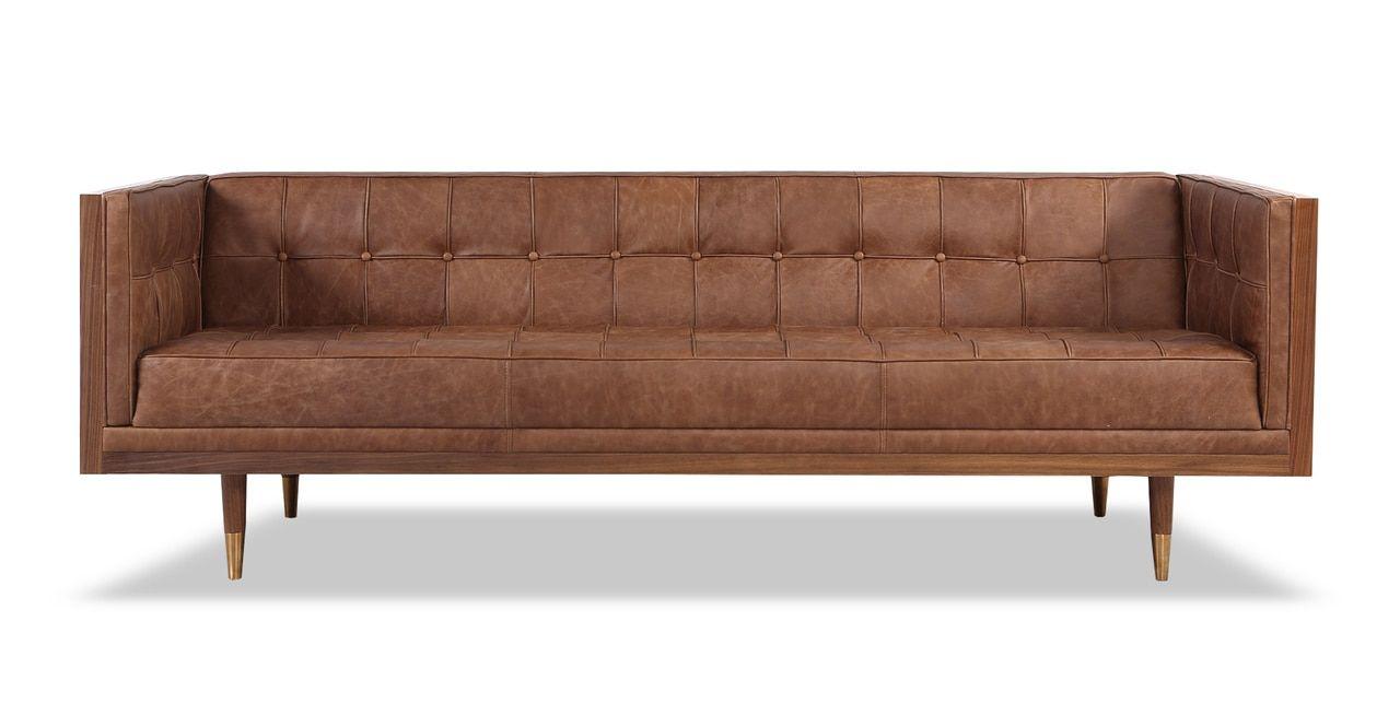 Woodrow Box Sofa Walnut Vintage Brown Distressed Leather Distressed Leather Sofa Leather Sofa Furniture