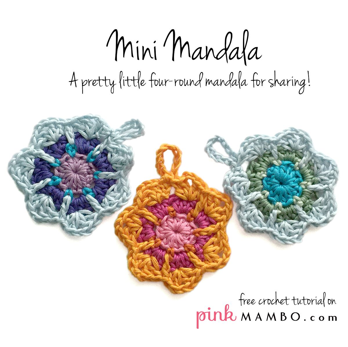 Crochet Mini Mandala Free Pattern would make a cute little snowflake ...