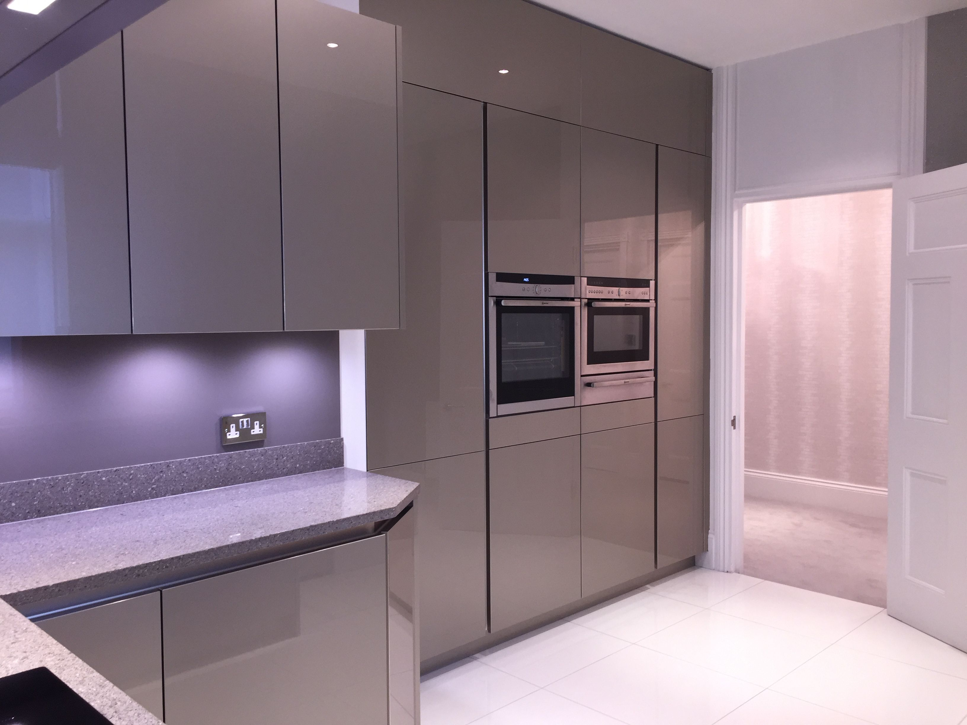 High Gloss Gray Cabinets from our Range Bauformat | Grey ...