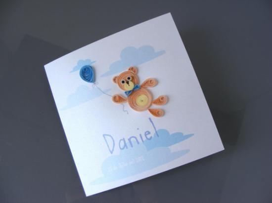 tarjeta osito azul  papel quilling,filigrana de papel