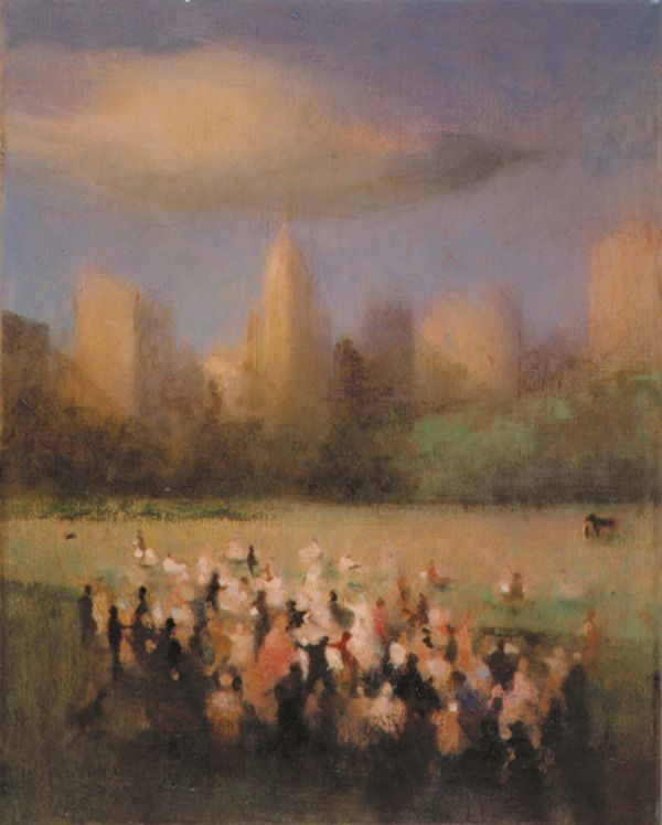 Bill Jacklin ~ Study for Gathering, Central Park II, 2001 (oil)