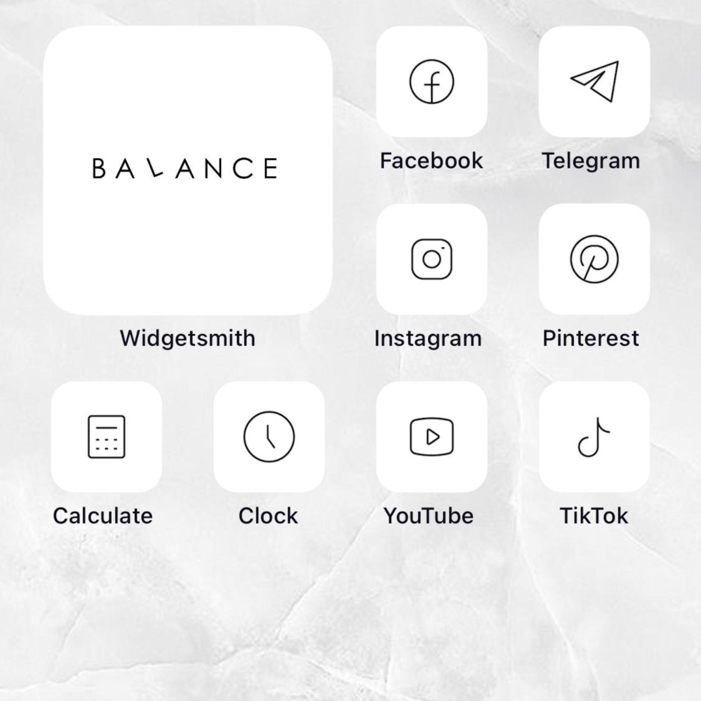 250 Basic Set Ios14 App Icons Black White Grey Mode Widget Aesthetic Minimal Icon Iphone Apple Pack In 2020 App Icon Icon White Iphone
