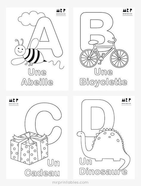 free french alphabet coloring pages by mr printables teaching in 2018 pinterest literacy. Black Bedroom Furniture Sets. Home Design Ideas