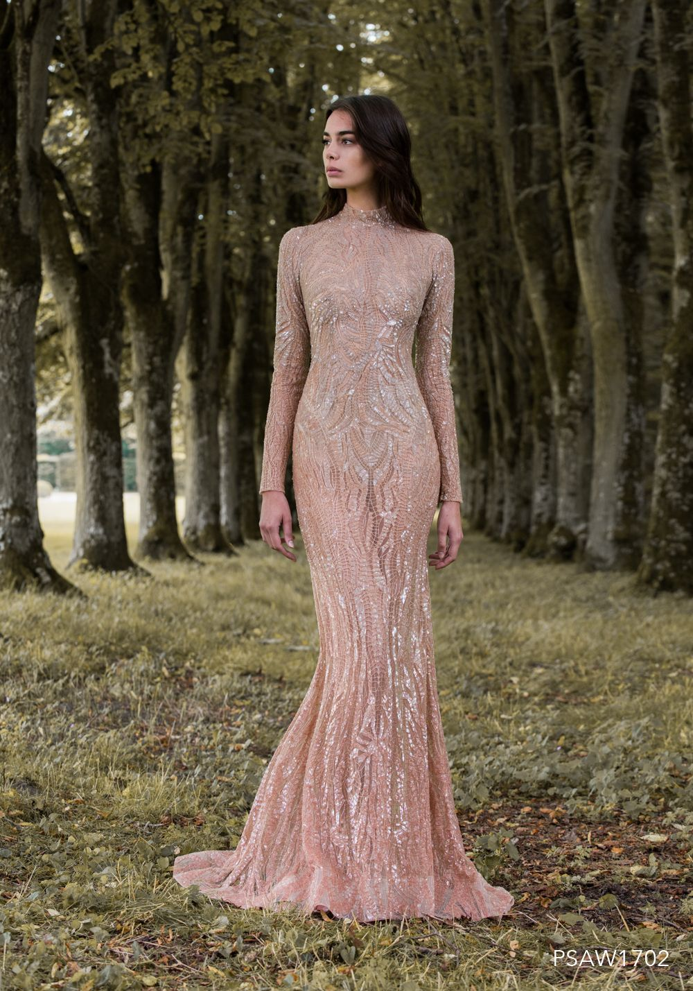 Paolo sebastian psaw sleeved gown with iridescent wing