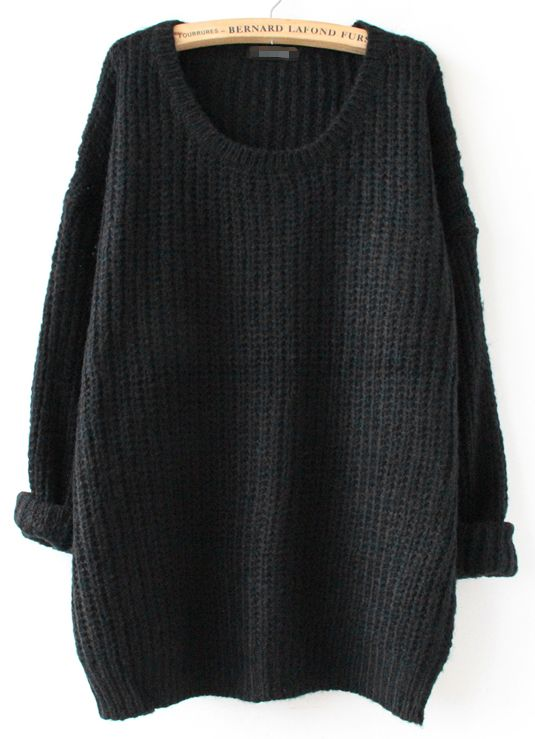 Shop Black Long Sleeve Loose Sweater online. Sheinside offers Black Long  Sleeve Loose Sweater   more to fit your fashionable needs. Free Shipping  Worldwide! 4dd6cdce79