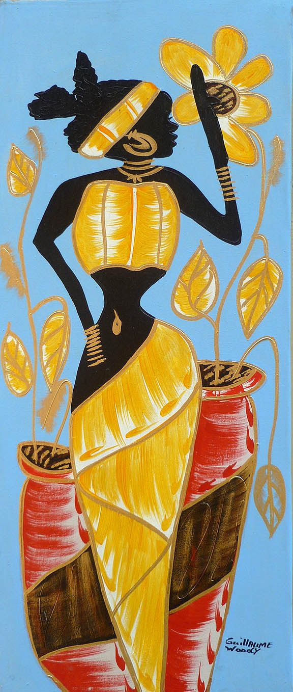 Haitian Woman in Gold & Red, Canvas Art of Haiti - Haitian Painting ...