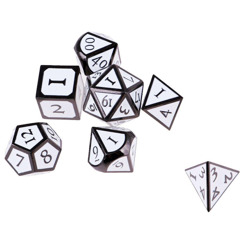 Metal Multi Sided Dice Set Of 7 D4 D6 D8 D10 D12 D20 Dungeons D/&D RPG Role Play