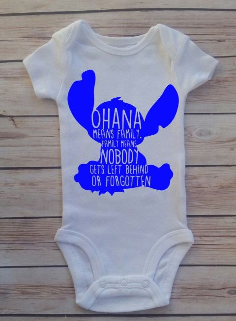 31db328687f1 Ohana Means Family Family Means Nobody Gets Left Behind Or Forgotten Baby  Newborn Onesie Bodysuit Lilo