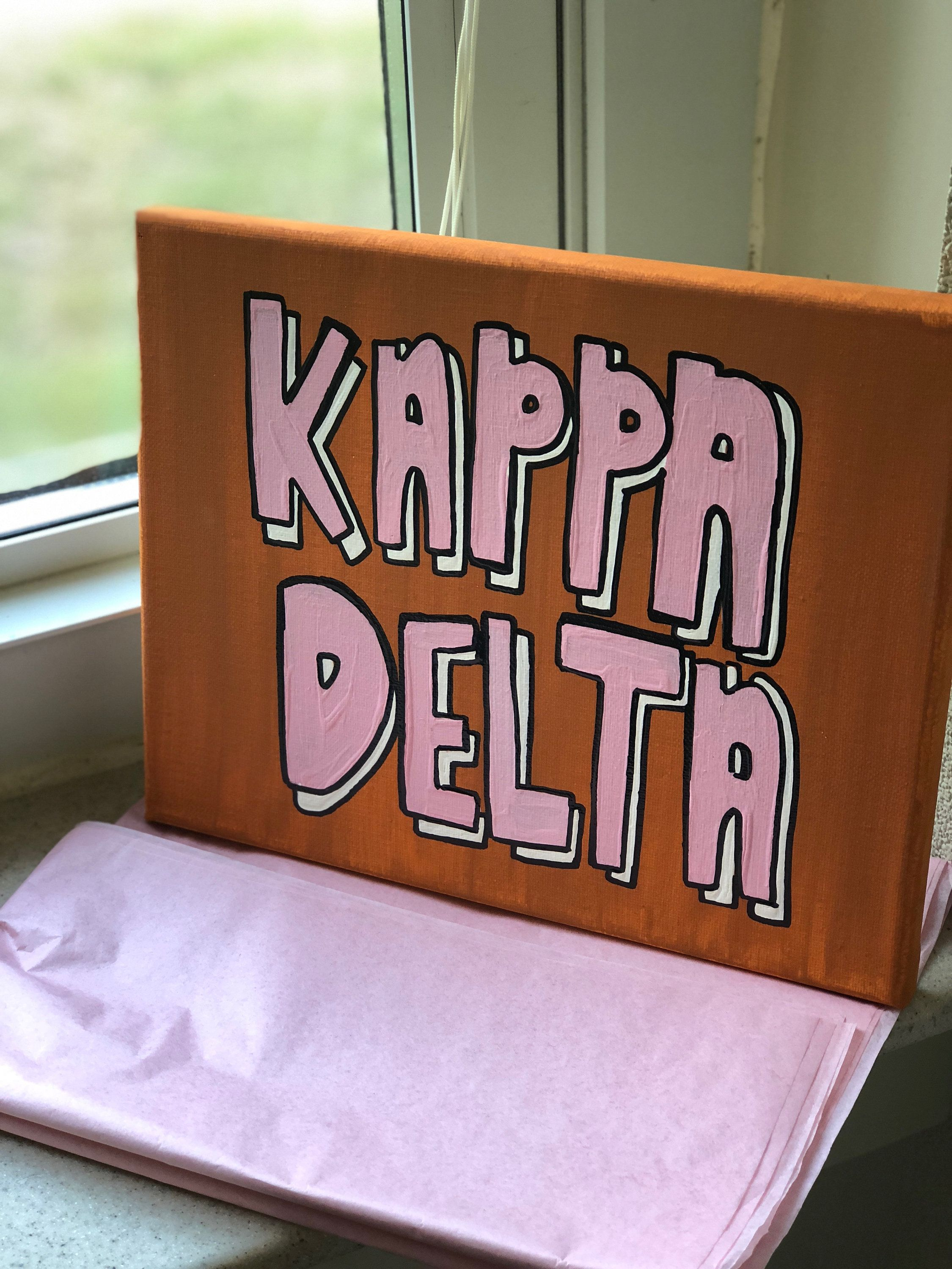 Kappa Delta Sorority Canvas // Burnt Orange and Light Pink // Big Little Gifts // Big Little Canvas // Gifts for Her // Sorority Crafts #biglittlecanvas