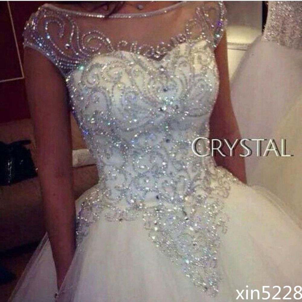 Bridal Ball Gown Wedding Dresses Dazzling Princess Luxury Bling Crystal Handmade Ball Gowns Wedding Ball Gown Wedding Dress Sweetheart Wedding Dress