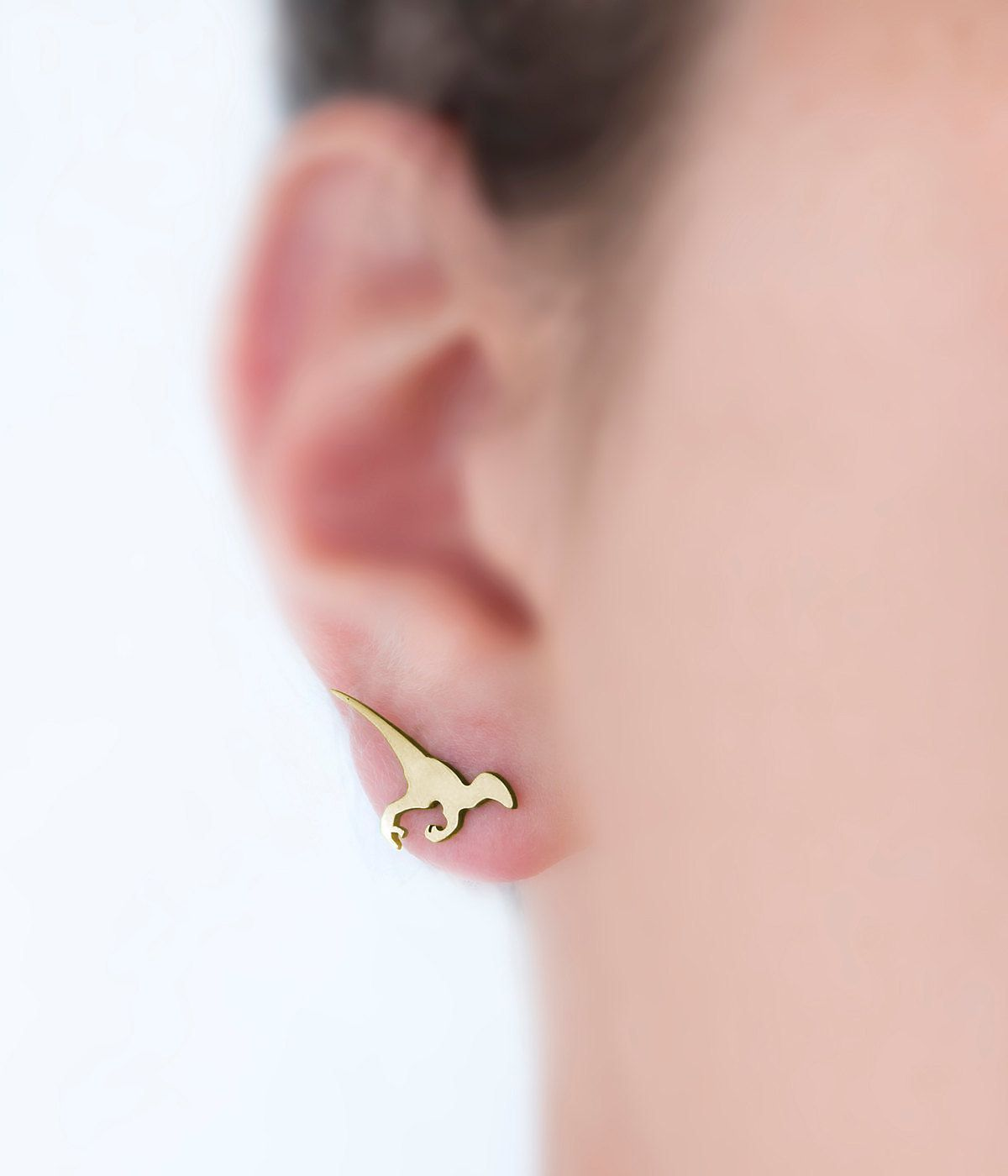 Raptor earrings, YELLOW GOLD MATTE, dinosaur studs, dinosaur jewelry ...