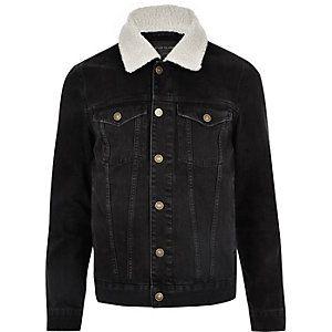 Black Fleece Collar Denim Jacket Borg Denim Jacket Borg Collar Denim Jacket Denim Jacket With Fur