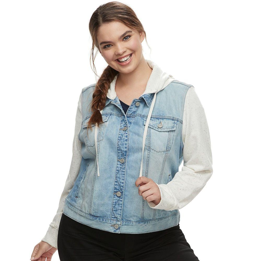 804a5fd5320dd Juniors  Plus Size Mudd® Hooded Knit Sleeve Jean Jacket