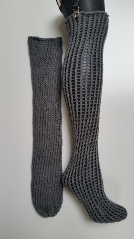 Hand Knitted Socks Sexy Knee High Fishnet By Loomofafruit On Etsy