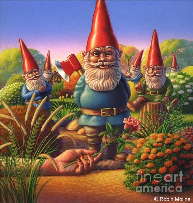 Robin Moline Garden Gnomes Painting By Robin Moline Garden