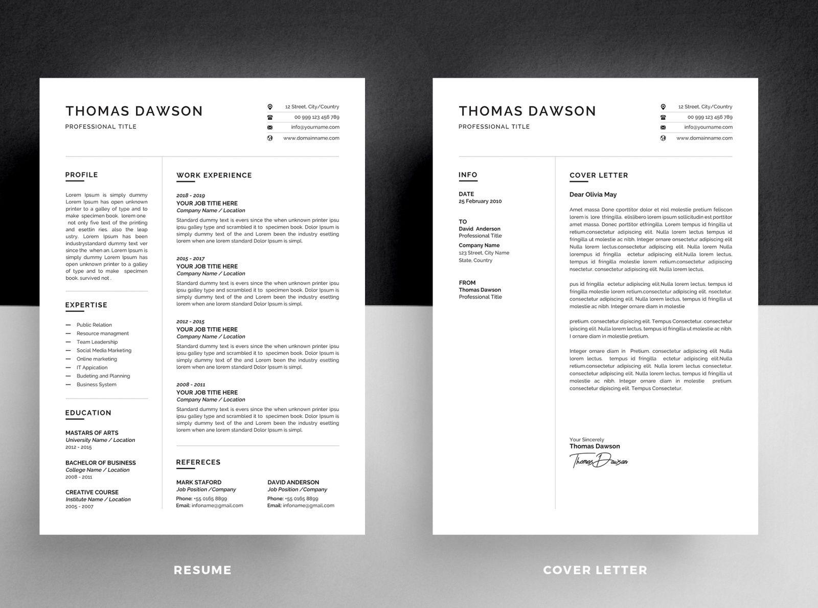 Resume Cv Cover Letter In 2020 Cv Cover Letter Resume Cv Unique Resume Template