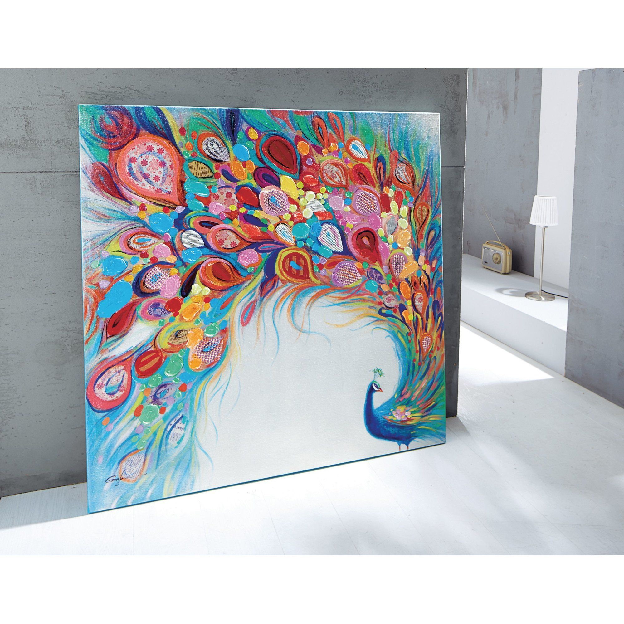 Farbenfrohes Xl Bild Pfau Acryl Auf Leinwand Bunt Amazon De
