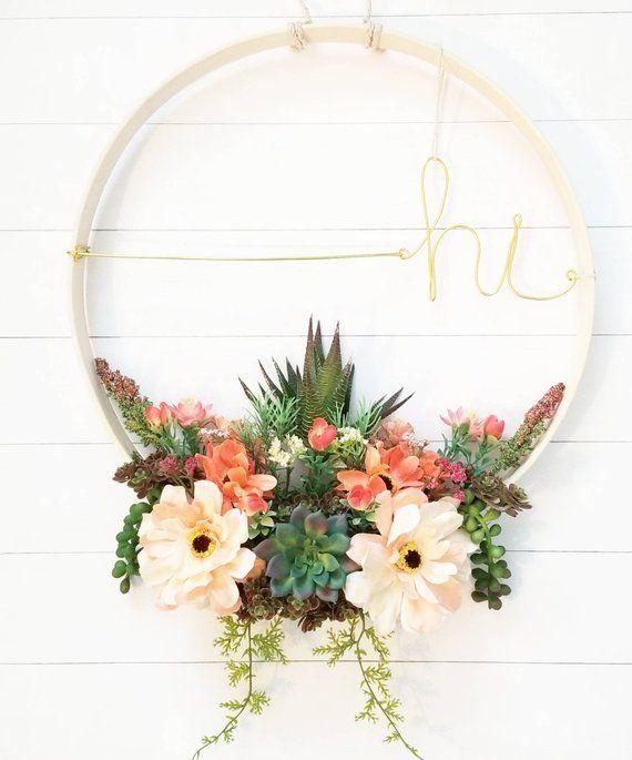 Photo of Succulent wreath, floral wreath, everyday wreath, modern wreath, modern wall art, hoop wreath, feminine decor, modern decor, floral decor