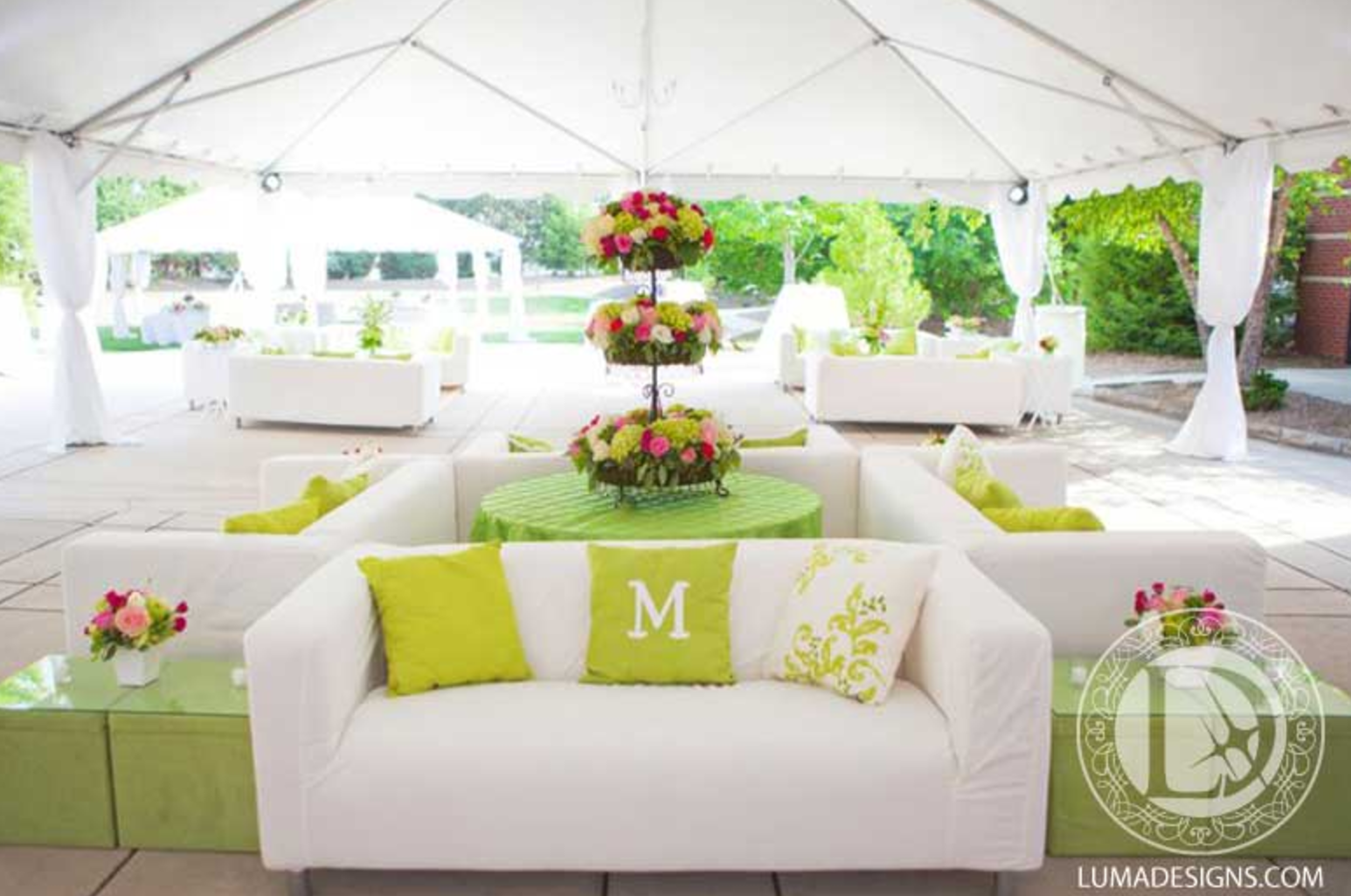 Luma Designs designed this space for the ultimately perfect spring wedding with touches of green against the white. Click the image to learn more. Photo credit: Luma Designs webpage