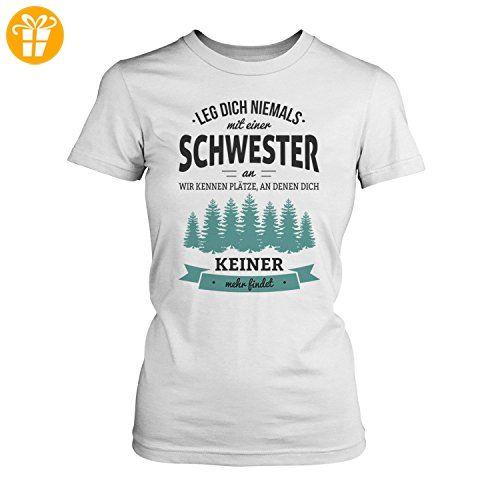 Fashionalarm Damen T-Shirt - Leg dich niemals mit einer Schwester an | Fun Shirt mit Spruch als Geburtstag Geschenk Idee für Geschwister, Farbe:weiß;Größe:5XL (*Partner-Link)