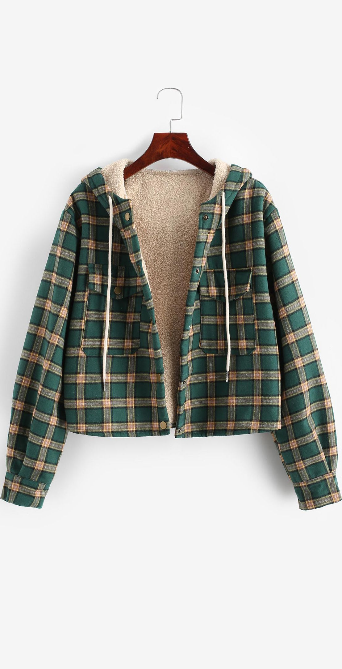 Flap Pockets Fleece Line Snap Button Plaid Jacket