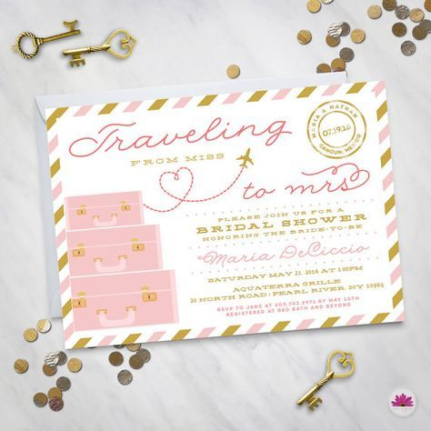 Traveling From Miss To Mrs Destination Wedding Bridal Shower Invitation Travel Theme The Adventure Begins
