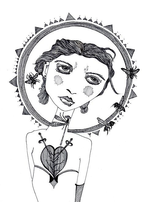Art Illustration - The Beekeeper. Art Illustration of Girl with Bee Crown and Speared Heart Tattoo. #Savethebees Ink on paper by Letisia Cruz