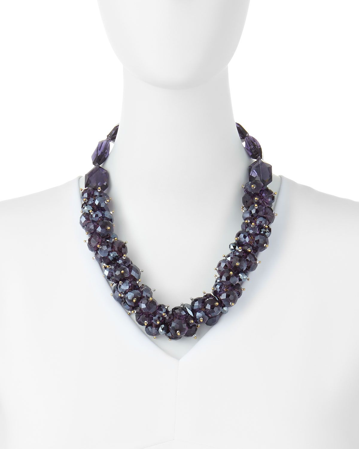Beaded Cluster Necklace, Amethyst