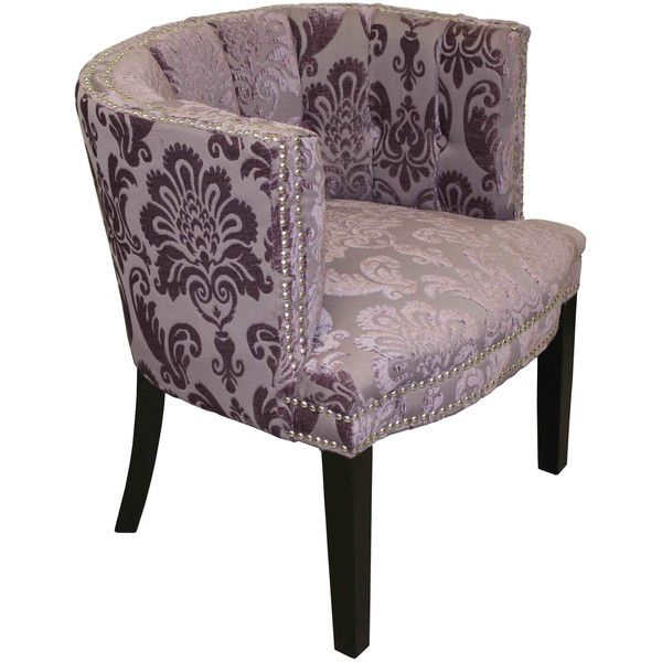 Hd Couture Bohemian Black Plum Fan Damask Arm Chair 231 Liked On Polyvore Featuring Home Furniture Chairs Purple Bo Patterned Chair Barrel Chair Purple Furniture