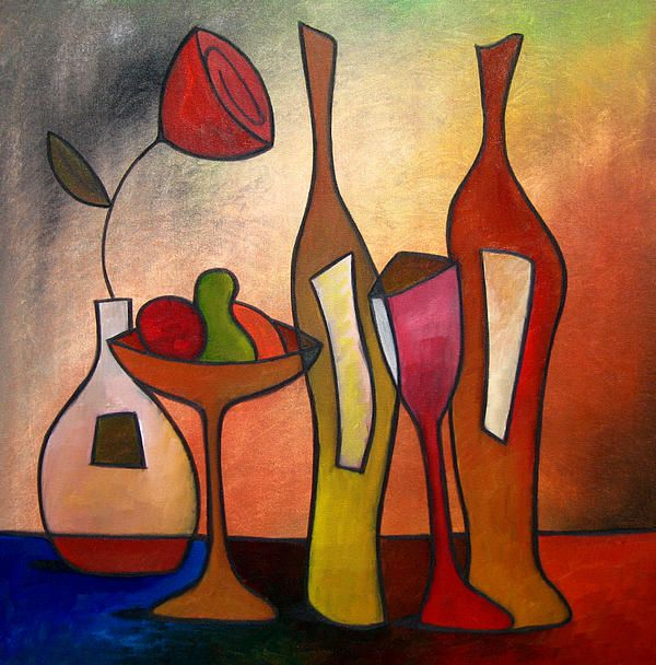 We Can Share - Abstract Wine Art By Fidostudio