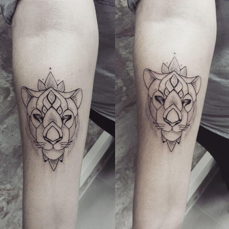 Lioness Tattoos: Matching Lioness Tattoos By Ness Cerciello #lioness #lion
