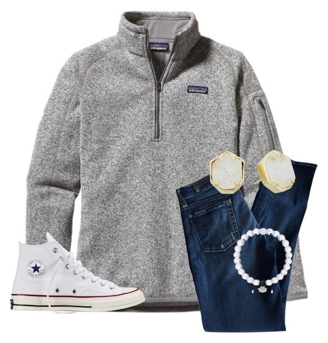 """•ootd 12/25/15"" by justice3-1 ❤ liked on Polyvore featuring Patagonia, 7 For All Mankind, Converse and Kendra Scott"
