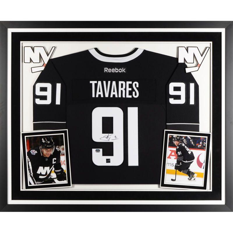 c3bfb25c467 John Tavares New York Islanders Fanatics Authentic Deluxe Framed  Autographed Black and White Alternate Reebok Premier Jersey - Frameworth
