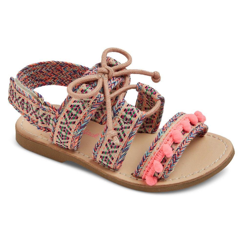 9195eb6f545a Toddler Girls  Paulette Soft Ghillie Slide Sandals With Pom Poms Cat   Jack  - Pink 11